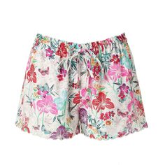Accessorize Floral Garden Shorts ($53) found on Polyvore featuring shorts, legs, shorts and skirts, elastic waistband shorts, scalloped hem shorts, scalloped edge shorts, cut out shorts and flower print shorts