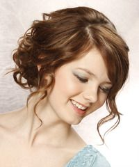 Long Curly Updo with bangs