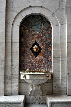 Pewabic Pottery Drinking Fountain in the Vestibule between the Great Hall and Rivera Court, Detroit Institute of Arts {by russteaches, via Flickr}