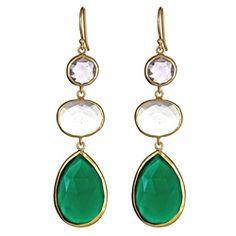 3 Stone Drops Amethyst, Clear Quartz, Green Onyx