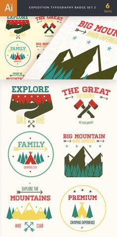 designtnt vector outdoor camp badges 2 large Vintage Outdoor Camp Badges Set 1