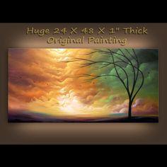art abstract original painting landscape painting art acrylic 48 x 24