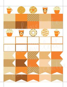 PUMPKIN SPICE LATTE and Sweets Half Box Page Flags Erin Condren (Vertical) Planner Stickers - digital - Instant Download by LiveLoveLatte on Etsy