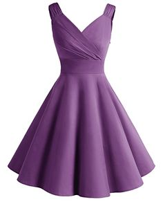 Bridesmay Women's Vintage Dresses 1950s A-Line Retro Swing Party Dress Purple S: Amazon.co.uk: Clothing