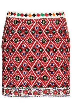 Emboidered A-line Skirt
