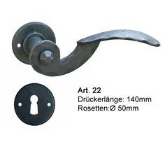 Rosettengarnitur Schmiedeeisen rustikal von Galbusera. Rustic Wrought Iron door Handle.