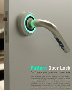 Pattern Door Lock is designed with the code combination hidden out of sight, adding an extra measure of security. Click to check it out. #security #safety #YankoDesign
