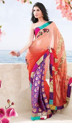 #Bling Bling: Orange Faux Georgette Embroidered #Saree, just Rs 2080 $38