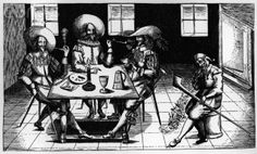 17th Century Engraving of Pipe Smokers Around a Table.