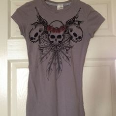 Crash & Burn This T shirt has skulls with black stones on the front. Really cute! Crash & Burn Tops
