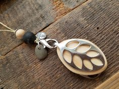 Bellabeat Leaf Accessory Adjustable necklace with Carmel California beach pebble .925 SS by dooglelinhk on Etsy