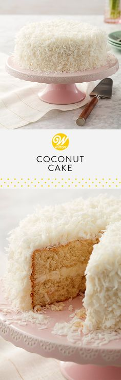This cake is for serious coconut lovers. There's coconut in the batter as well as covering the icing which makes this cake extra flavorful! Serve it at your next brunch celebration! #wiltoncakes #brunch #brunchideas #brunchrecipes #brunchparty #brunchmenu #bruncheasy #weddingbrunch #brunchwedding #brunchhweddingshower #brunchweddingreception #brunchrecipesforacrowd #brunchtable #brunchtablescape #brunchandbubblybridalshowerideas #brunchfood #brunchbridalshowerideas