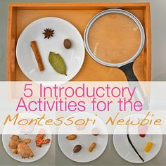 5 Activities for the Montessori Newbie - I LOVE Montessori activities for so many reasons! Practicing motor skills, exploration, sensory learning, etc. I also love the smelling and tasting activities.