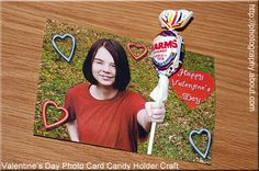 Cute Candy Sucker Holder Valentine's Day Card