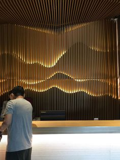 Accent wall & lighting (see zen garden pattern) Lobby Interior, Interior Walls, Interior Lighting, Modern Interior, Lighting Design, Interior Architecture, Lobby Design, Design Hotel, Restaurant Design