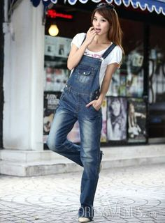 new fashion cotton one piece denim overalls for women long blue plus size  denim jumpsuit women