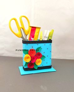 Pen stand , diy , how to make , pen stand making from waste Planter Pots, Box, Crafts, Snare Drum, Manualidades, Handmade Crafts, Craft, Arts And Crafts, Artesanato