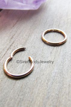 The size you've been waiting for, Pin for later!  These 18g rose gold plated hinged segment rings are perfect for septum, daith, helix, forward helix, nostril and tragus piercings! You absolutely need at least one of these for your body jewelry collection. $21.99+S&H SirenBodyJewelry.etsy.com