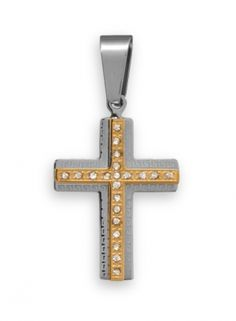 Gold Tone Stainless Steel Cross Pendant. The gold tone 316L stainless steel cross has a raised center with crystal accents and a Greek key design edge.  The pendant is approximately 20mm x 40mm.