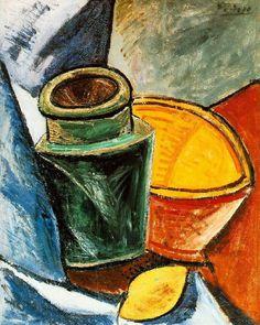 Pablo Picasso. Cruche, bol et citron. 1907