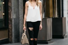 Fashion Jackson, Dallas Blogger, Fashion Blogger, Street Style, White Cami, White Tank, Topshop Black Denim Ripped Skinny Jeans, Steve Madden Carrson Tan Ankle Strap Heeled Sandals, Celine Belt Handbag, Celine Aviator Sunglasses