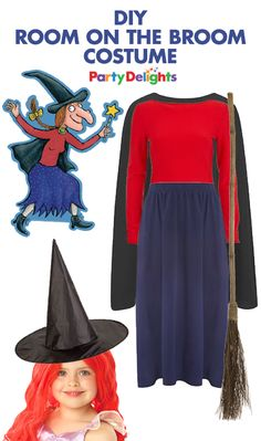 Looking for an easy World Book Day costume idea? The witch from the Room on the Broom is a super easy costume to put together. Read our blog post to find out how to put together this quick DIY Room on the Broom costume. All you need to make this witch costume is a black cape, witch's hat, broomstick, blue skirt and a red top.