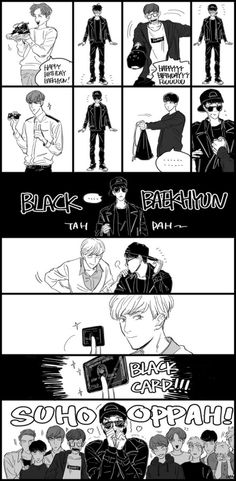 black baekhyun and the black card XD happy birthday oppa Exo Ot12, Suho Exo, Chanbaek, Exo Anime, Fandom Kpop, Exo Fan Art, Xiuchen, Kpop Drawings, Exo Memes