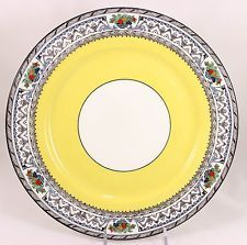 FAB ART DECO DINNER PLATE ANTIQUE ADDERLEY BONE CHINA ENGLAND 7295 YELLOW BLACK