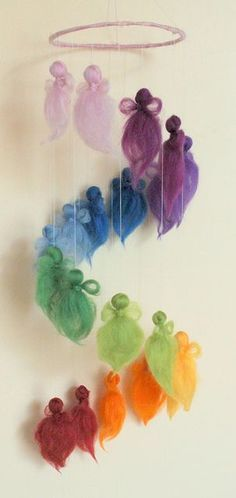 ♥ Colors of the Rainbow Felt Crafts, Diy And Crafts, Crafts For Kids, Arts And Crafts, Wet Felting, Needle Felting, Felt Angel, Waldorf Crafts, Felt Fairy