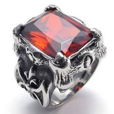 Encontre mais Anéis Informações sobre Aço inoxidável de cristal vermelho dos homens do dragão garra anel de alta qualidade charme anel, de alta qualidade dispositivo de anel, anel de fabrico China Fornecedores, Barato link anel de Fashion ---stainless steel em Aliexpress.com