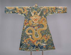 Textiles and Fashion Arts - Collection Highlights | Museum of Fine Arts, Boston. Man's robe restyled as a  Tibetan Chuba Chinese Late Ming or early Qing dynasty 17th century Object Place: probably Suzhou, China; Findspot: Tibet