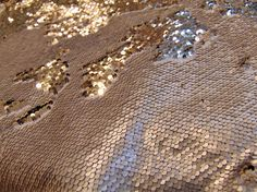 """Matte Champagne on Gold Little Sequins Roll Over Mirage 2-Way Stretch Fabric Wedding Prom Quinceanera Sweet 16 Dance Clothing 52"""" Wide"""