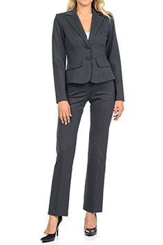 Sweethabit Womens Classic Wear to Work Solid Pants Suit Set(3020set) (Large, 3108-3107_Grey)