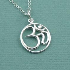 Script Om Necklace , sterling silver om , yoga jewelry , sanskrit