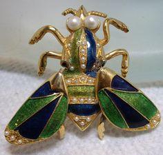 VERY RARE Vintage Signed Hattie Carnegie Enamel Trembler BUG Insect Brooch.