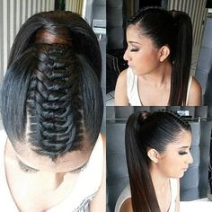 Modern ponytail hairstyles would make it easy for you to get model like look. You can make high and low ponytails with or without shaving your sides hair. Hair Afro, Ombré Hair, Hair Dos, Prom Hair, Braided Ponytail, Ponytail Hairstyles, Pretty Hairstyles, Knot Braid, Braid Hair