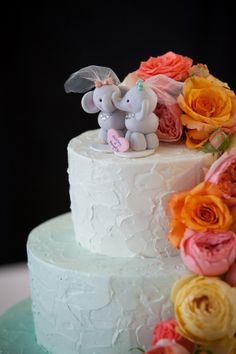 Let's get fancy with two kayaking brides and the cutest elephant cake topper you ever did see