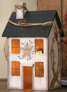 Primitive Saltbox Houses | Primitive Lighted Saltbox House | Primitive Houses