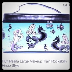 Fluff Retro Mermaid Makeup Train Cosmetic Case☄ NOT IRON FIST, LISTED FOR EXPOSURE.   Sold out and discontinued. From artist Claudette Barjoud.   New with tags. The mirror still has the protective plastic. 