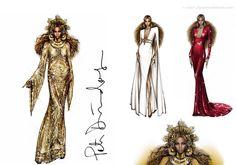 Los figurines de moda del diseñador Peter Dundas para los estilismos que llevó Beyoncé durante los premios GRAMMY 2017 #fashion #sketches #grammys www.figurinesdemoda.com