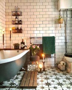 New Stylish Bohemian Home Decor and Design Ideas Cheap Home Decor, Diy Home Decor, Cozy Bathroom, Bathroom Ideas, Bathroom Goals, Bohemian Bathroom, Bathroom Vintage, Rustic Bathrooms, Metro Tiles Bathroom