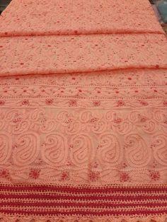 Lucknavi Chikan Peach Georgette Suit Length with exclusive resham chikankari & crochet work on daaman #lucknow #chikankari $79.5