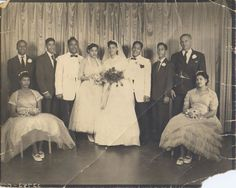 Floretta and Arthur with their wedding party, Vintage Wedding Photos, Vintage Weddings, Vintage Bridal, Wedding Pictures, Vintage Photos, African American Weddings, African Weddings, Vintage Black Glamour, Vintage Soul