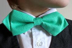 Kids Bowtie Mint Green Dots Size 612 by threadssewfine on Etsy