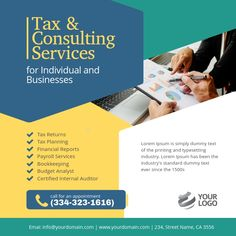 Tax & Consulting Services instagram   PosterMyWall Instagram Post Template, In Writing, Budgeting, How To Plan, Instagram Posts, Budget Organization