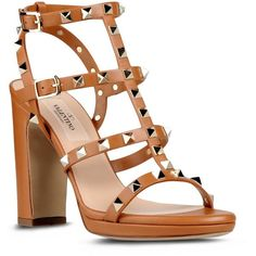 Valentino High-heeled sandal ($1,095) ❤ liked on Polyvore featuring shoes, sandals, heels, valentino, sapatos, brown, brown sandals, valentino sandals, studded heel shoes and studded sandals