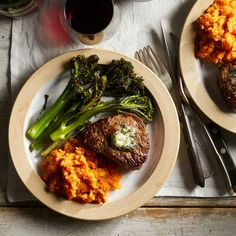 A small quantity of compound butter, seasoned with garlic and herbs, makes a simple but delicious finish for a tender steak. We have rounded out this colorful healthy meal with roasted broccolini and mashed sweet potato—the perfect impressive yet easy dinner for date night-in. #valetinesday #recipe #eatingwell #healthy