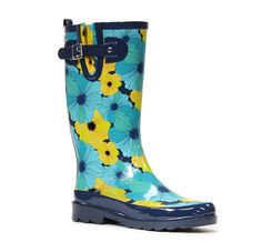 "Big beautiful blooms in yellow and blue make this a boot to be seen. Waterproof with a black sole and detailing.. - 12.5"" Height - Rubber outsole with adjustable strap - Moisture absorbing fabric lini"