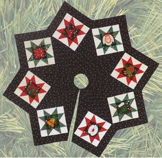 """Dress your Christmas tree in quilted glory! Eight pieced 12"""" blocks stand on point around the 71"""" diameter skirt. Two blocks are given in the pattern: a paper-pieced star and a simple Ohio Star. Use o"""