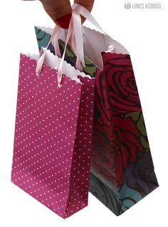 """Lines Across"": Homemade Scrapbook Paper Gift Bags"